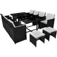 13 Piece Outdoor Dining Set with Cushions Poly Rattan Black QAH33975 - Hommoo