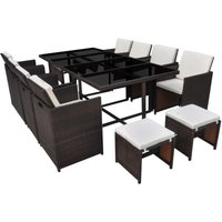 Hommoo 13 Piece Outdoor Dining Set with Cushions Poly Rattan Brown QAH33979