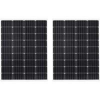 2x Solar Panels 100W Monocrystalline Aluminium and Safety Glass VD06500 - Hommoo