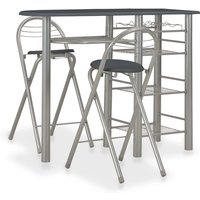 3 Piece Bar Set with Shelves Wood and Steel Black VD24938 - Hommoo