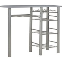 Hommoo 3 Piece Bar Set with Shelves Wood and Steel Grey QAH24939