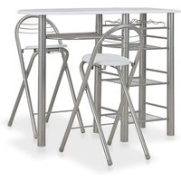 3 Piece Bar Set with Shelves Wood and Steel White VD24937 - Hommoo