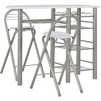 Hommoo 3 Piece Bar Set with Shelves Wood and Steel White QAH24937