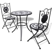 Hommoo 3 Piece Bistro Set Ceramic Tile Black and White VD15511