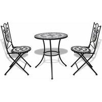 Hommoo 3 Piece Bistro Set Ceramic Tile Black and White QAH15511