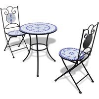 3 Piece Bistro Set Ceramic Tile Blue and White VD15510 - Hommoo
