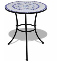 3 Piece Bistro Set Ceramic Tile Blue and White QAH15510 - Hommoo
