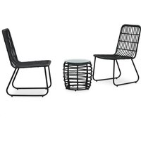 Hommoo 3 Piece Bistro Set Poly Rattan Black VD46571