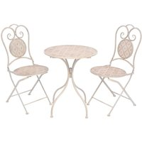 Hommoo 3 Piece Bistro Set Steel White VD27535