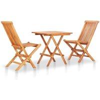 3 Piece Folding Bistro Set Solid Teak Wood VD46816 - Hommoo