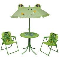 Hommoo 3 Piece Kids Garden Bistro Set with Parasol Green VD26723