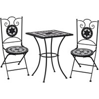 Hommoo 3 Piece Mosaic Bistro Set Ceramic Tile Black and White VD36129