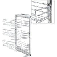 3-Tier Pull-out Kitchen Wire Basket Silver 47x25x56 cm - Hommoo
