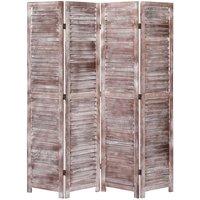 4-Panel Room Divider Brown 140x165 cm Wood VD24753 - Hommoo