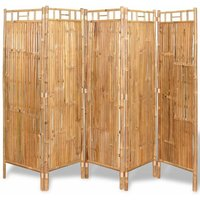 Hommoo 5-Panel Room Divider Bamboo 200x160 cm