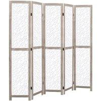Hommoo 5-Panel Room Divider White 175x165 cm Solid Wood QAH24738