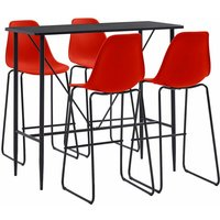 Hommoo 5 Piece Bar Set Plastic Red VD22012