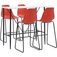 5 Piece Bar Set Plastic Red VD22035 - Hommoo