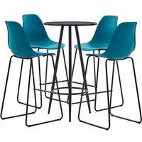 5 Piece Bar Set Plastic Turquoise QAH21877 - Hommoo