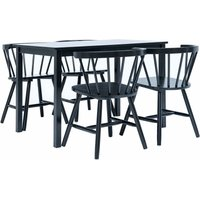 5 Piece Dining Set Solid Rubber Wood Black - Hommoo
