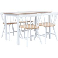 5 Piece Dining Set Solid Rubber Wood White and Brown - Hommoo