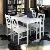 5 Piece Dining Set White VD08429 - Hommoo