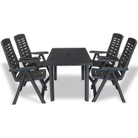 5 Piece Outdoor Dining Set Plastic Anthracite VD18021 - Hommoo