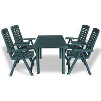 5 Piece Outdoor Dining Set Plastic Green VD18016 - Hommoo