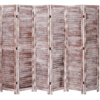 6-Panel Room Divider Brown 210x165 cm Wood VD24755 - Hommoo