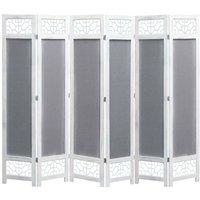 Hommoo 6-Panel Room Divider Grey 210x165 cm Fabric VD24727