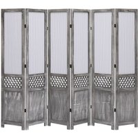 6-Panel Room Divider Grey 210x165 cm Fabric VD24759 - Hommoo