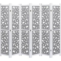 6-Panel Room Divider Grey 210x165 cm Solid Wood VD24735 - Hommoo
