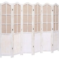Hommoo 6-Panel Room Divider White 210x165 cm Fabric QAH24763