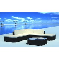 6 Piece Garden Lounge Set with Cushions Poly Rattan Black VD33957 - Hommoo
