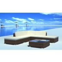 6 Piece Garden Lounge Set with Cushions Poly Rattan Brown VD33956 - Hommoo