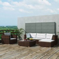 6 Piece Garden Lounge Set with Cushions Poly Rattan Brown VD33983 - Hommoo
