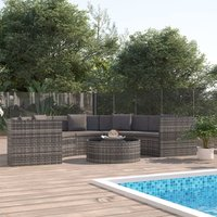 6 Piece Garden Lounge Set with Cushions Poly Rattan Grey (UK/IE/FI/NO Only) VD48291 - Hommoo