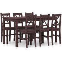 Hommoo 7 Piece Dining Set Pinewood Dark Brown VD24222