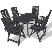 7 Piece Outdoor Dining Set Plastic Anthracite VD18022 - Hommoo