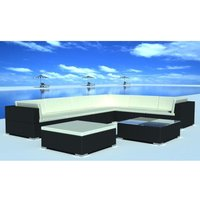 8 Piece Garden Lounge Set with Cushions Poly Rattan Black VD33959 - Hommoo