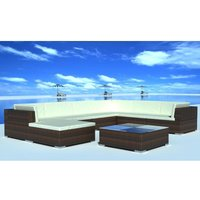 8 Piece Garden Lounge Set with Cushions Poly Rattan Brown VD33958 - Hommoo