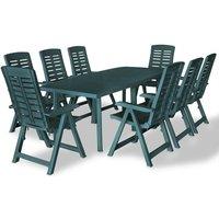 9 Piece Outdoor Dining Set Plastic Green VD18018 - Hommoo