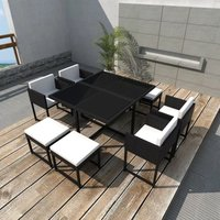 9 Piece Outdoor Dining Set with Cushions Poly Rattan Black VD33988 - Hommoo