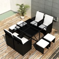 9 Piece Outdoor Dining Set with Cushions Poly Rattan Black VD33973 - Hommoo
