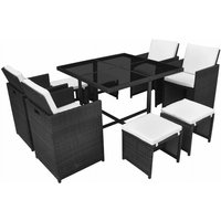 9 Piece Outdoor Dining Set with Cushions Poly Rattan Black QAH33973 - Hommoo