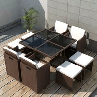 Hommoo 9 Piece Outdoor Dining Set with Cushions Poly Rattan Brown VD33977