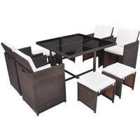Hommoo 9 Piece Outdoor Dining Set with Cushions Poly Rattan Brown QAH33977