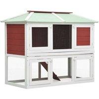 Hommoo Animal Rabbit Cage Double Floor Red Wood