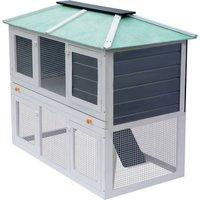 Animal Rabbit Cage Double Floor Wood - Hommoo