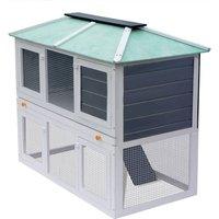 Hommoo Animal Rabbit Cage Double Floor Wood QAH06959